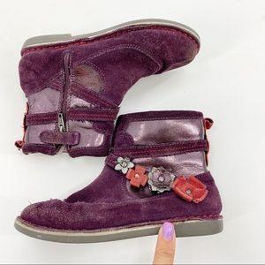 Stride Rite Purple Suede Flower Winter Bootie 11.5